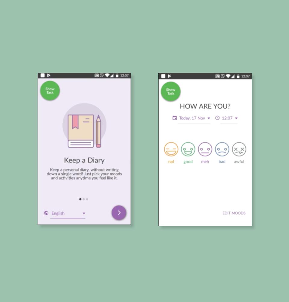 app UI onboarding flow